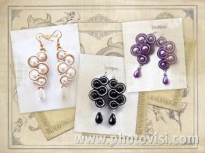 orecchini a soutache con perle