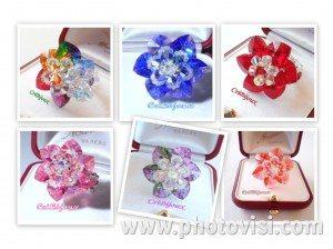 anelli fiore di cuori swarovski
